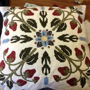 Helen Heron's handpieced appliqued cushion