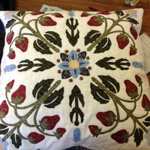 Helen Heron's handpieced appliqued cushion